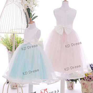 20% OFF Cute Tulle Skirt Satin Flower Girl Dress Toddler Birthday Party Dress with Bow (Z1031)