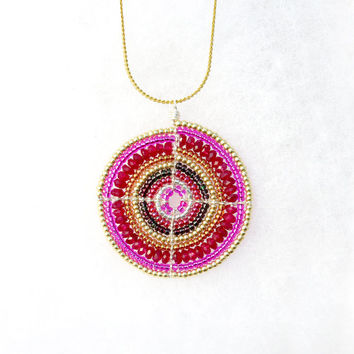 Pink Necklace, Statement Necklace, African Jewellery, OOAK Beadwork Necklace, One of a kind Necklace
