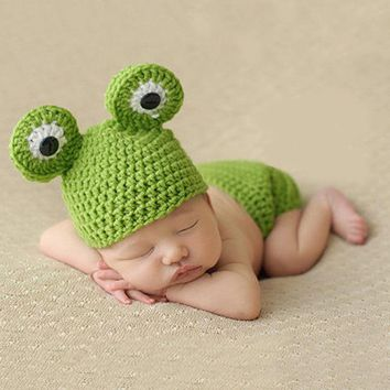 Cute Newborn Baby Girls Boys Frog Crochet Knit Costume Beanie Hats Cap Baby Gift Photo Photography Prop
