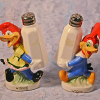 FREE SHIPPING Very Rare Winnie And Woody Salt And Pepper Shakers, Walter Lantz Productions, 1950's Character Shakers