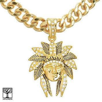 "Jewelry Kay style Men's Fashion CZ Indian Head Pendant 24"" Heavy Cuban Chain Necklace KC 8013 G"