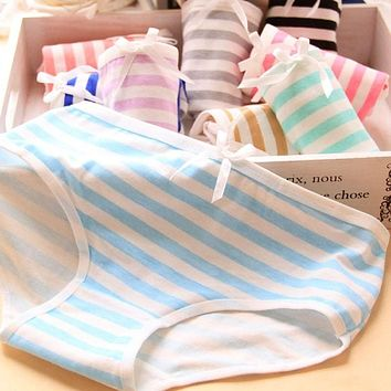 1Pcs Women Striped Panties Ladies Underwear Panties Knicker Lingeries Ladies Briefs Panties Women Underwear Briefs Underpanties