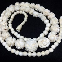 Art Deco Carved Flower Bead Necklace 22 Inches Creamy White Floral Design Beads Vintage Bridal Wedding Jewelry 518m