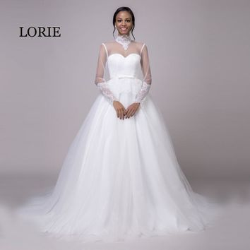 LORIE Long Sleeve Wedding Dress 2018 High Neck Appliques Lace Up Back White Arabic Wedding Gown with a sweep Train Bride Dress