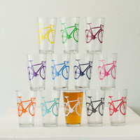MEGA CRAZY SUPER Bike party - screen printed bicycle pint glasses, set of 12