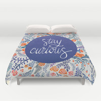 Stay Curious – Navy & Coral Duvet Cover by Cat Coquillette