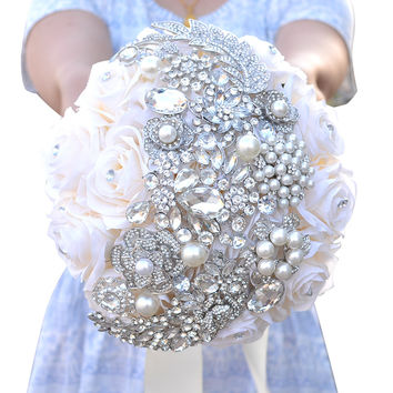 Natural Touch Roses and Brooch Jewel Bride Bouquet Perfect Wedding Flowers Whimsical Brooch bouquet bridal wedding bouquet A0009