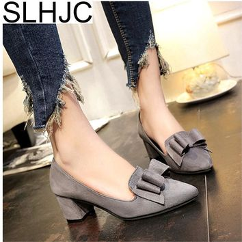 SLHJC  Spring Autumn Pumps Shoes Med High Heel Pointed Toe
