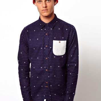 Bellfield Flannel Shirt With Snowflake Print
