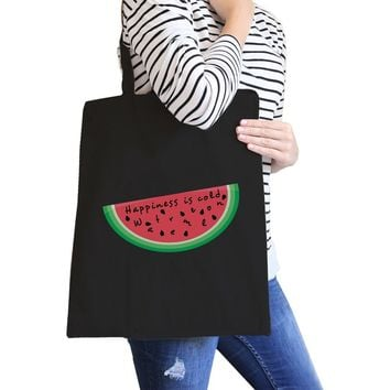 Happiness Is Cold Watermelon Eco-Friendly Cotton Shoulder Tote Bag