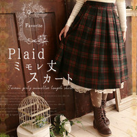 Japanese Autumn Winter Vintage Plaid Retro Skirts Knee Length Harajuku Mori Girl Cute Elastic Waist Kawaii Thick Skirts V052