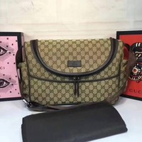 Gucci Strawberry Print GG Canvas Diaper Bag Beige Multicolor New