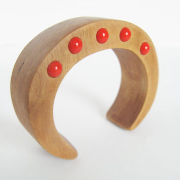 Upcycled Wooden Bracelet Bangle Red Coral Glass Beads