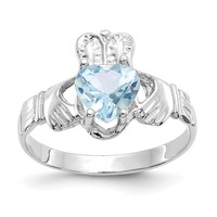 14k White Gold March Aquamarine Heart Claddagh Ring
