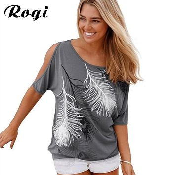 Rogi Womens Tops And Blouses 2019 Summer Fashion Cold Off Shoulder Top Beach Casual Feather Print Shirt Women Tops Blusas S-5XL