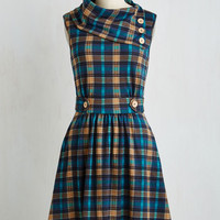 Mid-length Sleeveless A-line Coach Tour Dress in Teal Plaid