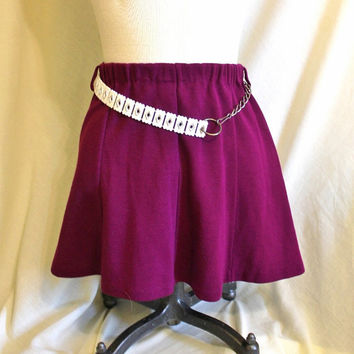 Purple Mini Skirt Vintage Mod Skirt with Retro White Belt XS or SMALL