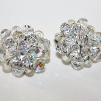 Vintage  Crystal  Earrings  Cluster 1950s Jewelry