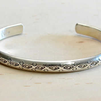 Half Round Sterling Silver Cuff Bracelet with Handmade Native American Metal Stamps – Solid 925 BR7212