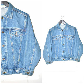 relaxed fit GUESS jean jacket vintage 80s 90s GRUNGE stone wash DENIM jacket small