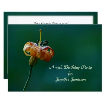 75th Birthday Party Invitation, Yellow Lily Card