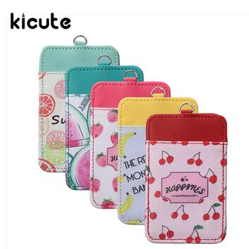 Kicute New Fruit Design Double Slot PU Leather ID Badge Card Holder With Lanyard Office Stationery Card Stand Card Holder