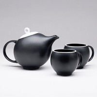 EVA teacups in black matte porcelain with white rims - set of 2