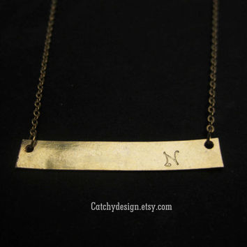 Personalized Gold Bar Necklace,Gold Plate Necklace,Kim Kardashian,Bar Necklace,Mothers day gift,Engraved Initial Bar,Skinny Nameplate