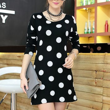 Polka Dots Long Sleeves A-Line Loose Mini Dress