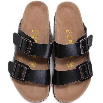 Birkenstock Leather Cork Flats Shoes Women Men Casual Sandals Shoes Soft Footbed Slippers-199