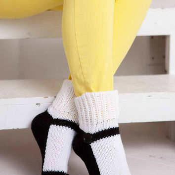 Knit Slipper Sock Adult Mary Jane Slippers Sox White House Slippers Womens Slippers Home Slippers Black House Shoes Home Shoes