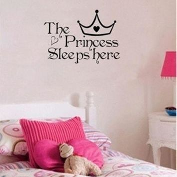 The Princess Sleeps Here Wall Say Quote Word Lettering Art Vinyl Sticker Decal Home Decor Words = 1946044932