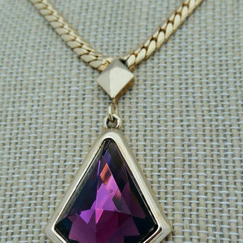 Vintage Whiting and Davis Goldtone Faceted Purple Glass Rhinestone Pendant Necklace - Retro Glam / Boho Chic / Art Deco / Classic Classy