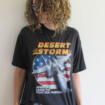 90s Desert Storm Air Force Military Fighter Jet War American Freedom Indie Black T shirt