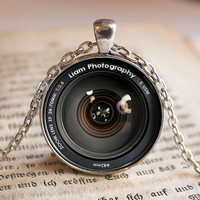 Custom Name Camera Lens Pendant/Necklace Jewelry, Fine Art Necklace Jewelry, Camera Lens, Promotional Gifts, Customized Gift