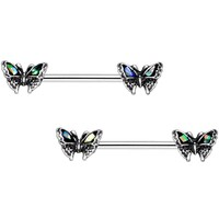 "5/8"" White Faux Opal Summer Butterfly Barbell Nipple Ring Set"