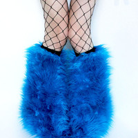 MADE TO ORDER TuRqUOiSE Fluffy Leg Warmers Fluffies monster fur furry bootcovers fuzzy boots gogo rave fluffies