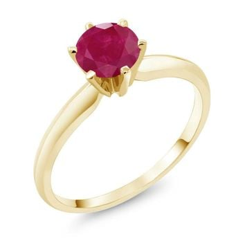 1.00 Ct Red Ruby 14K Yellow Gold Engagement Solitaire Ring 💍