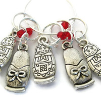 Charmed Stitch Marker Set   Beaded Stitchmarker   Knitting Stitch Marker   Knitting Gift   Russain Doll charm with red beads   #S006