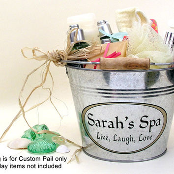 Personalized Bridesmaid Gift - Galvanized Metal Spa Pail - Custom Gift Bucket - Medium Size (3qt)