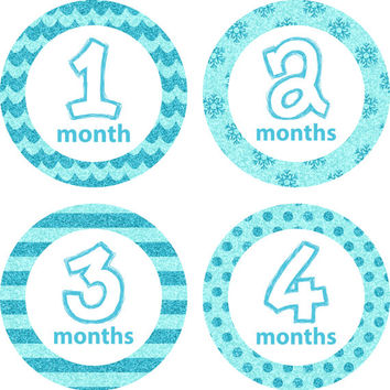 Monthly Baby Milestone Stickers Baby Girl Baby Shower Gift One-Piece Baby Stickers Monthly Baby Sticker Baby Month Sticker Turquoise Glitter