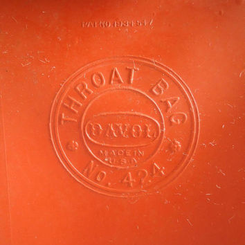 Davol Quality Red Rubber Ice Bag 424 Throat and Spinal Pain Aid Vintage 1934 Patent Medical Collectible Original Box Back Pain Health Aid