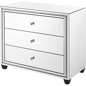 "Modern 39.5"" Crystal 3-Drawers Cabinet, Clear Mirror Finish"