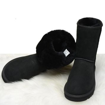 Australia style Real Genuine Leather Female Furry Boots Winter Snow Boots Shoes with warm for Women style booties