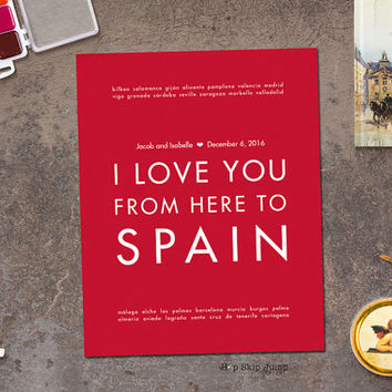Spain Personalized Wedding Gift - Choose Poster Print Canvas Frame - Shown in Scarlet Red - Custom Text/Colors