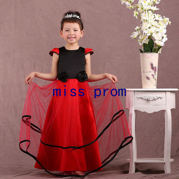 Square neckline red tulle and black satin with flowers flower girl dress
