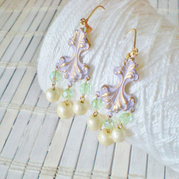 Baroque Lavender Chandelier Earrings - Playful Patinas Mini Collection