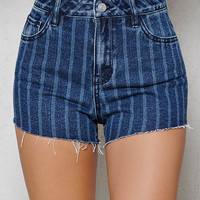 PacSun Engine Stripe High Rise Cutoff Denim Shorts at PacSun.com