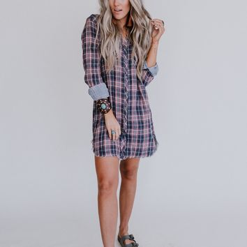 On Our Highway Plaid Dress - Navy Red