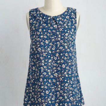 To the Nines Floral Top in Blue Blooms | Mod Retro Vintage Short Sleeve Shirts | ModCloth.com